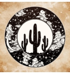 Round drawing of a night sky cactus silhouette vector