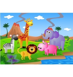 safari animal cartoon vector image vector image