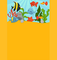 Sea bottom with big layer of greend sharp coral vector