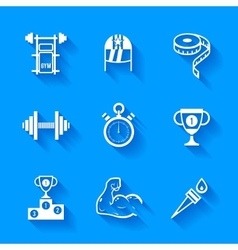 Set of white sports icons vector image vector image
