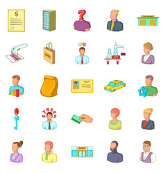 Success icons set cartoon style vector
