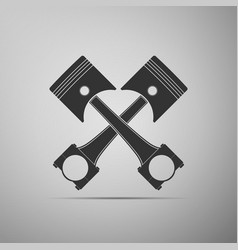 Two crossed engine pistons icon isolated vector