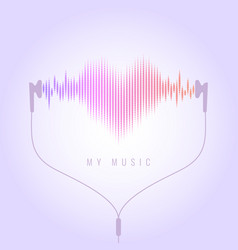 vivid with headphones and sound waves vector image