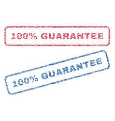 100 percent guarantee textile stamps vector