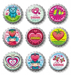 Valentines bottle tops vector