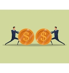 men business concept finance money coins team vector image