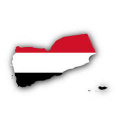 Map and flag of yemen vector