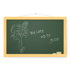 Blackboard with businessman running to work with vector