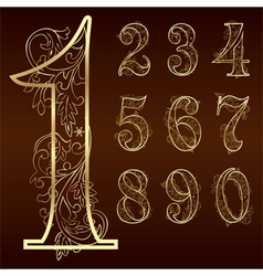 Set of vintage floral numbers vector image