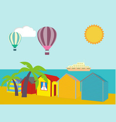 a row of beach huts against blue sky and sand and vector image