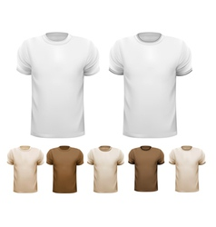 Set of white and colorful male shirts vector