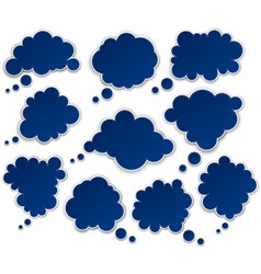 Set of paper blue clouds vector image