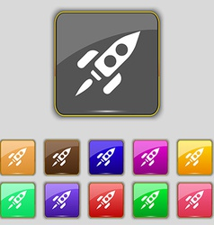 Rocket icon sign set with eleven colored buttons vector