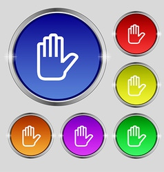Hand print Stop icon sign Round symbol on bright vector image