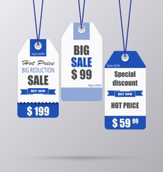 Blue vintage tag for sale template vector