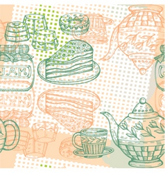 Afternoon tea pattern vector