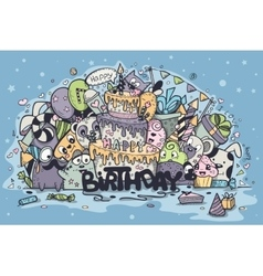 Greeting card for birthday party with doodles vector
