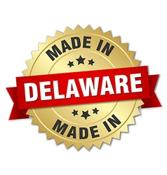 Made in delaware gold badge with red ribbon vector