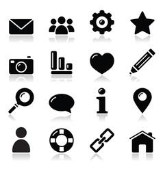 wWebsite menu navigation black shiny icons vector image