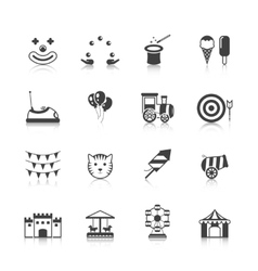 Amusement park icons black vector