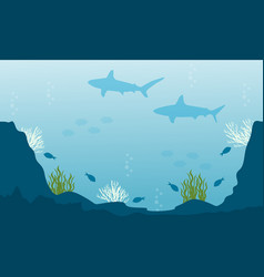 Art of fish underwater silhouettes vector