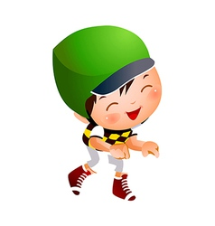 Boy wearing baseball outfit vector image vector image