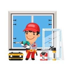Carpenter installs the new window vector