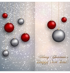 christmas greeting card with balls on snow vector image