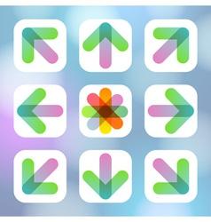 Colorful arrow icon flat menu vector