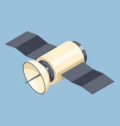 Communications satellite icon isolated on blue vector