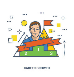 Concept of career growth and success or leadership vector