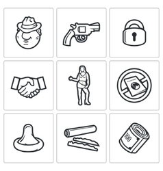 Crime and the slave trade icons set vector