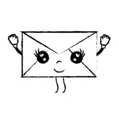 figure kawaii cute happy e-mail message vector image