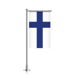 Flag of finland hanging on a pole vector