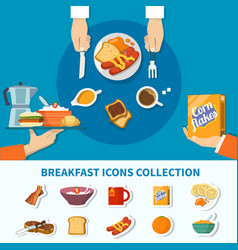flat breakfast icons collection vector image