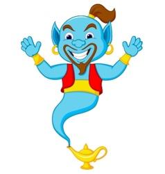 Friendly genie cartoon vector
