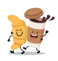 Funny cartoon characters coffee and croissant vector