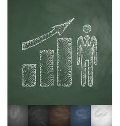 Growth chart icon hand drawn vector