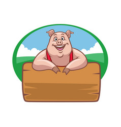 Happy farm pig with wood plank for text space vector