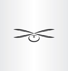 helicopter black icon vector image vector image