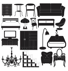 Home Furniture Icons Set vector image