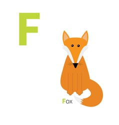Letter F Fox Zoo alphabet English abc with animals vector image