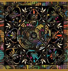 Meander colorful mandala pattern square greek key vector
