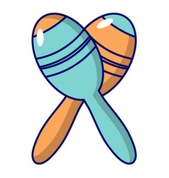 Mexican maracas instrument icon cartoon style vector