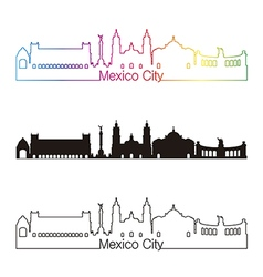 Mexico City skyline linear style with rainbow vector image vector image
