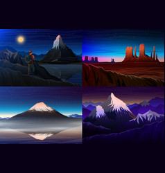Mountain everest matterhorn fuji with tourist vector