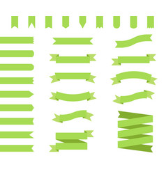 ribbons set design in green flat ribbon banners vector image vector image