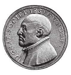 Saint ignatius of loyola coin vintage vector