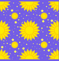 seamless pattern of yellow suns on a background vector image