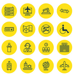 Set of 16 airport icons includes credit card vector